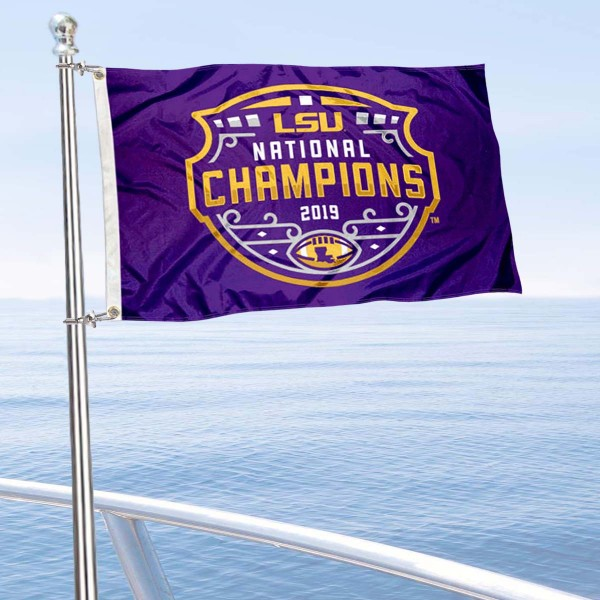 Louisiana State University Football Playoff Champions Boat Nautical Flag