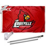 Louisville Cardinals ACC Flag and Bracket Flagpole Set