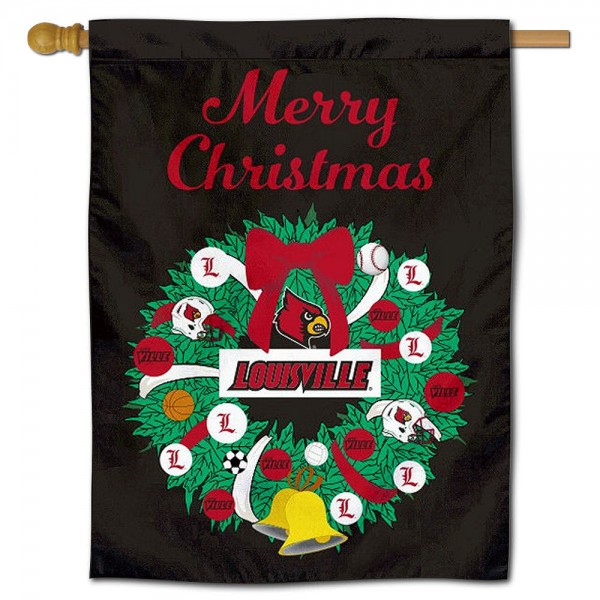 Louisville Cardinals Christmas Holiday House Flag