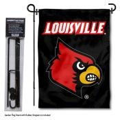 Louisville Cardinals Garden Flag and Holder