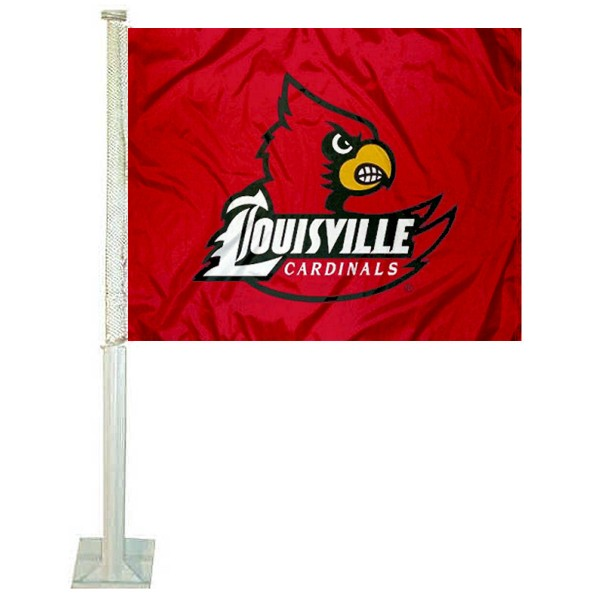 Louisville Cardinals Red Car Flag