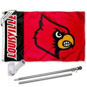 Louisville Cardinals Red Flag and Bracket Flagpole Set