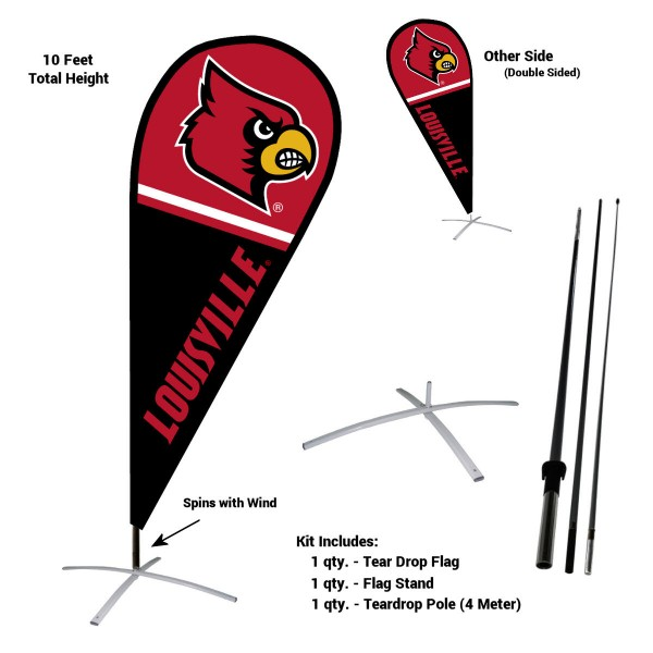 Louisville Cardinals Teardrop Flag and Stand Kit