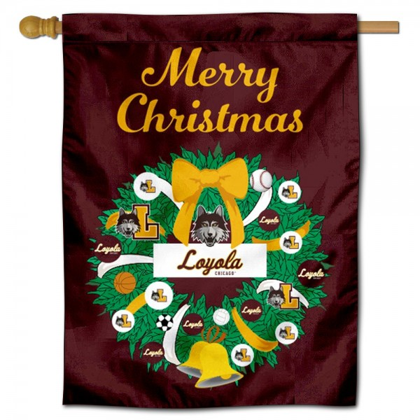 Loyola Chicago Ramblers Christmas Holiday House Flag