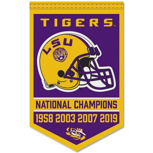 LSU Tigers 4 Time College Football National Champions Banner