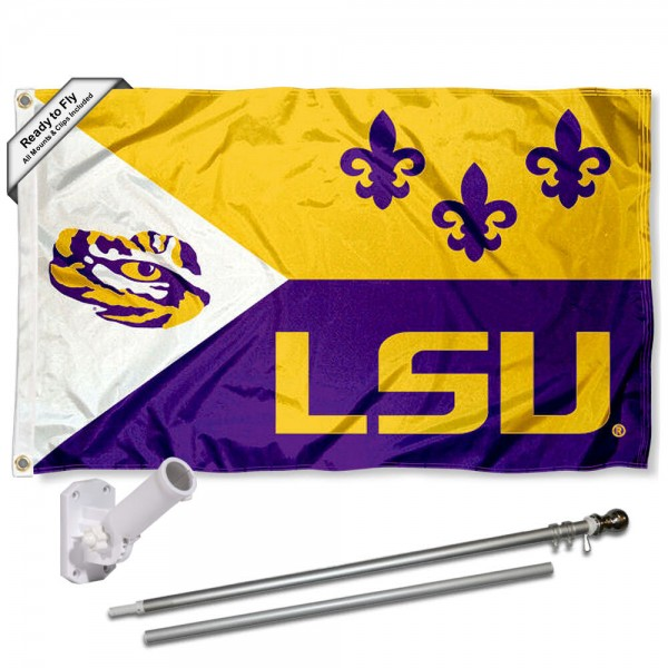 LSU Tigers Acadian Design Flag and Bracket Flagpole Kit