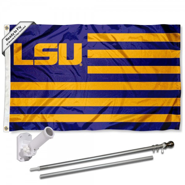 LSU Tigers Flag and Bracket Mount Flagpole Set