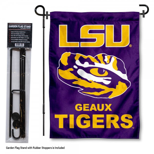 LSU Tigers Garden Flag and Holder