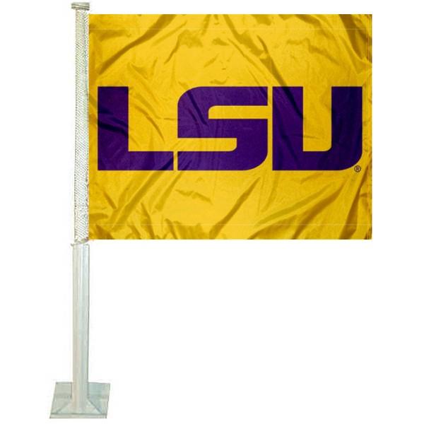 LSU Tigers Gold Car Flag
