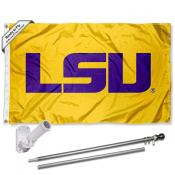 LSU Tigers Gold Flag and Bracket Flagpole Set