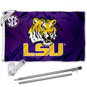 LSU Tigers SEC Flag and Bracket Flagpole Kit