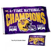 LSU Tigers Two Sided 4 Time Football Champions 3x5 Foot Flag