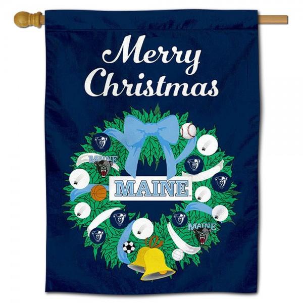 Maine Black Bears Christmas Holiday House Flag