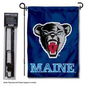 Maine Black Bears Garden Flag and Yard Pole Holder Set