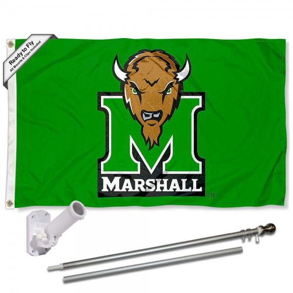 Marshall Thundering Herd Kelly Flag and Bracket Flagpole Set