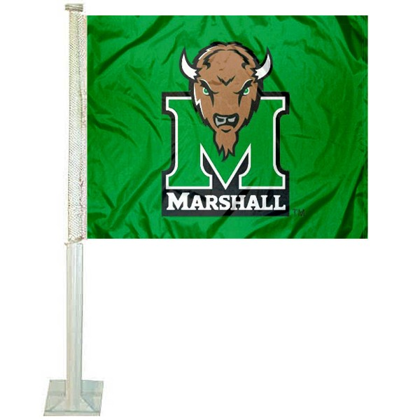 Marshall Thundering Herd Kelly Green Car Flag