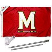 Maryland Terps Flag and Bracket Flagpole Set