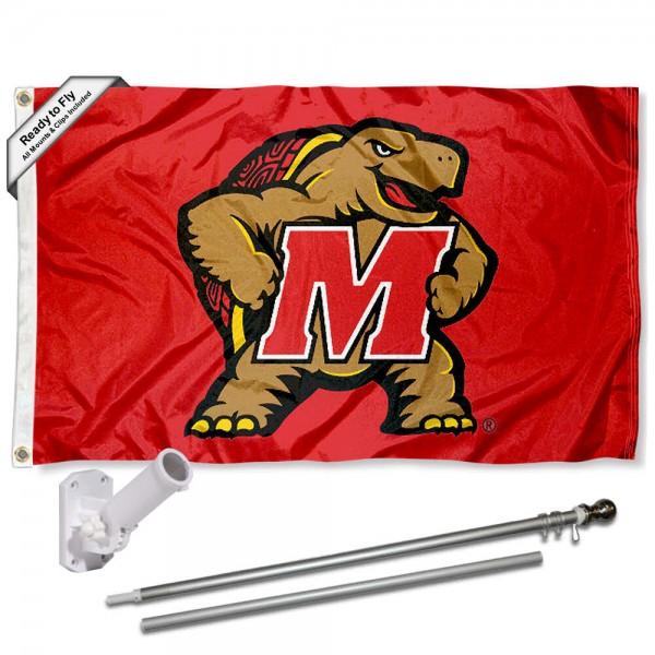 Maryland Terps Flag and Bracket Mount Flagpole Set
