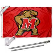 Maryland Terps Flag and Bracket Mount Flagpole Set