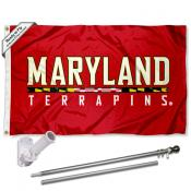 Maryland Terps Red Flag and Bracket Flagpole Set
