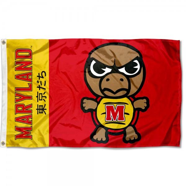 Maryland Terrapins Tokyodachi Cartoon Mascot Flag