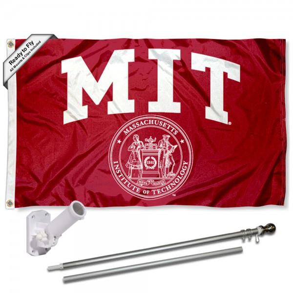 Massachusetts Institute of Technology Flag and Bracket Flagpole Kit