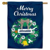 Mercy College Mavericks Christmas Holiday House Flag