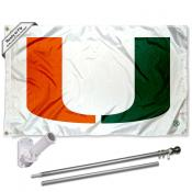 Miami Canes Flag and Bracket Flagpole Kit