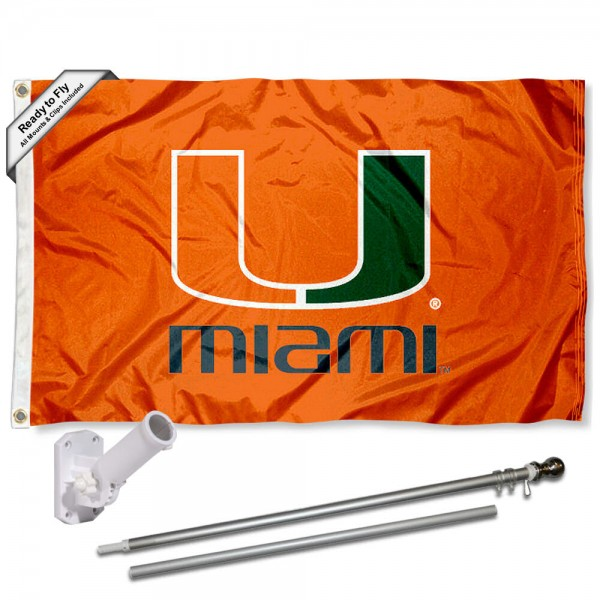 Miami Canes Flag and Bracket Flagpole Set