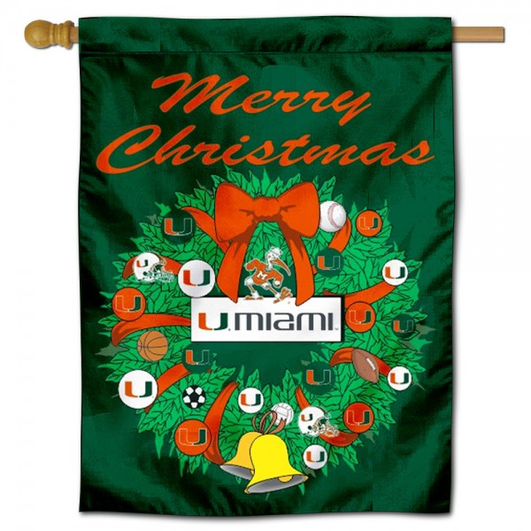 Miami Hurricanes Christmas Holiday House Flag