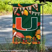 Miami Hurricanes Fall Leaves Football Double Sided Garden Banner