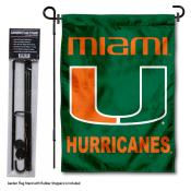 Miami Hurricanes Green Garden Flag and Holder