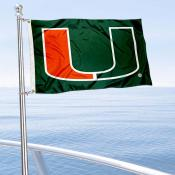Miami Hurricanes Green Nautical and Golf Cart Flag
