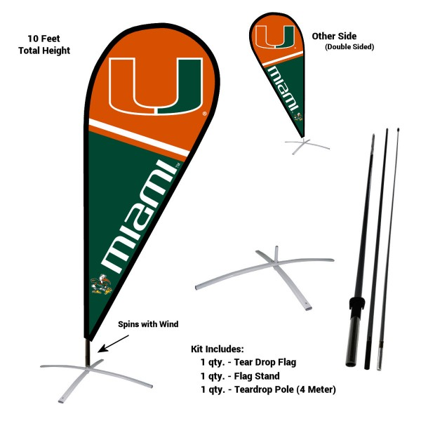Miami Hurricanes Teardrop Flag and Stand Kit