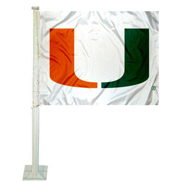 "Miami Hurricanes ""U"" Logo Car Flag"