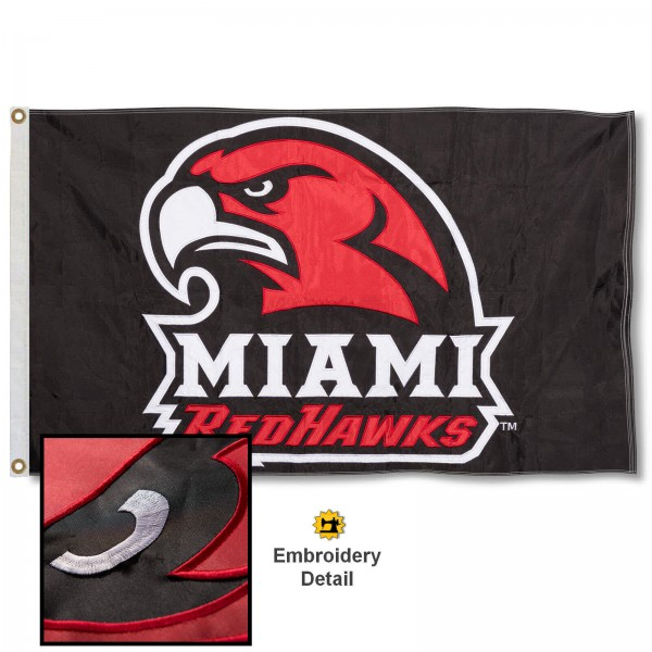 Miami Redhawks Appliqued Nylon Flag