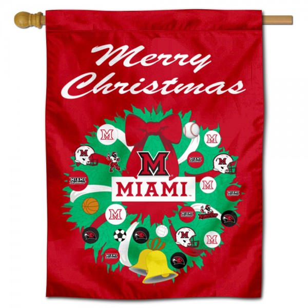 Miami Redhawks Holiday House Flag