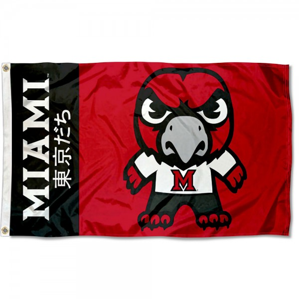 Miami Redhawks Tokyodachi Cartoon Mascot Flag