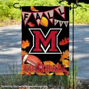 Miami University Redhawks Fall Leaves Football Double Sided Garden Banner