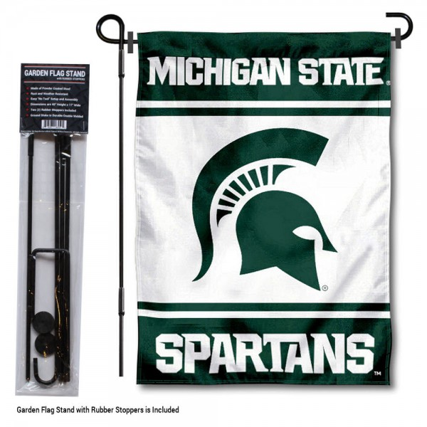 Michigan State Spartans Garden Flag and Holder