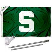 Michigan State Spartans Green Flag and Bracket Flagpole Set