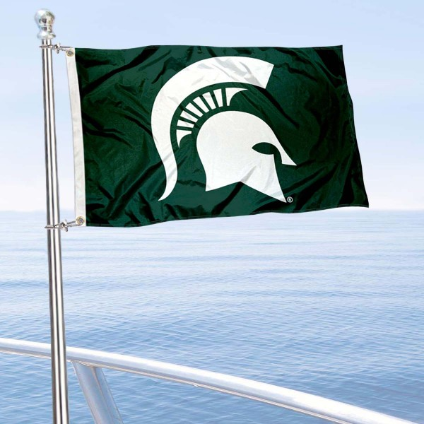 Michigan State Spartans Helmet Nautical and Golf Cart Flag