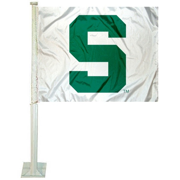 Michigan State Spartans White Car Flag