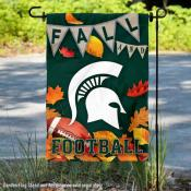 Michigan State University Spartans Fall Leaves Football Double Sided Garden Banner