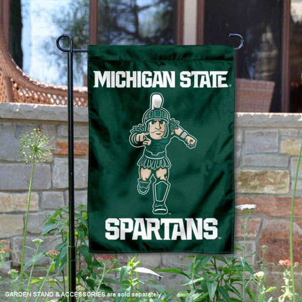 Michigan State University Sparty Mascot Double Sided Garden Flag