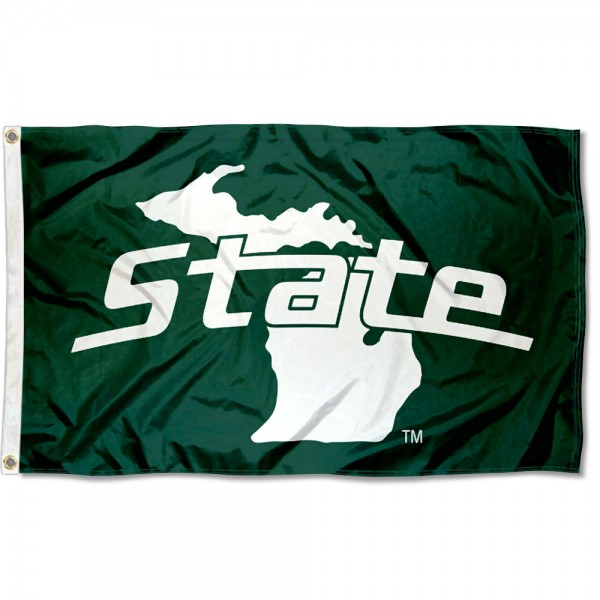 Michigan State University State of MI Logo Flag