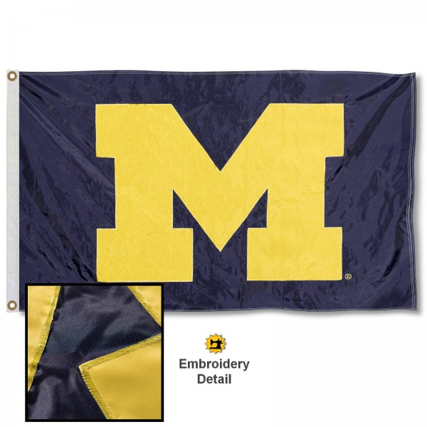 Michigan Wolverines Appliqued Nylon Flag