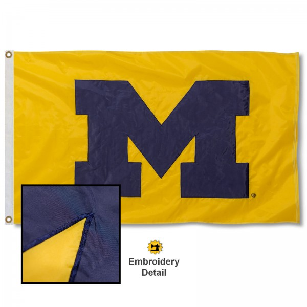 Michigan Wolverines Appliqued Sewn Nylon Maize Flag