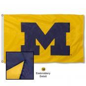 Michigan Wolverines Appliqued Sewn Nylon Maize Flag
