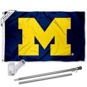 Michigan Wolverines Block M Flag and Bracket Flagpole Kit